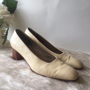 Salvatore Ferragmo // White Embossed Leather Heels